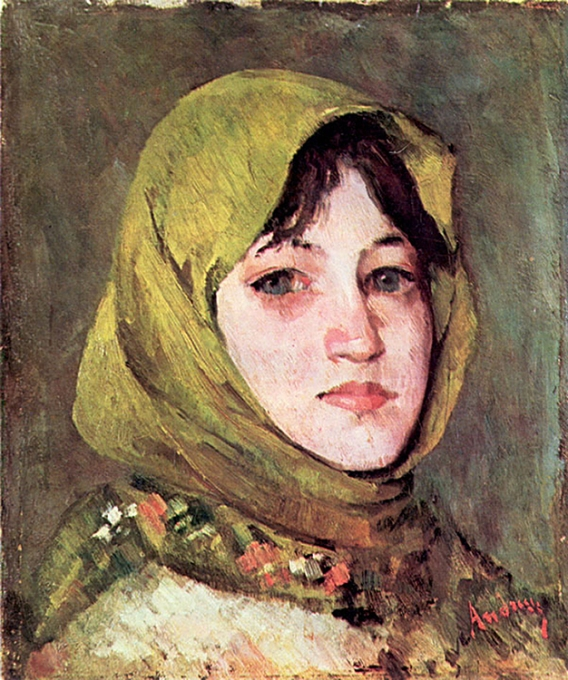 Ţărancă cu broboadă verde(Ion Andreescu)
