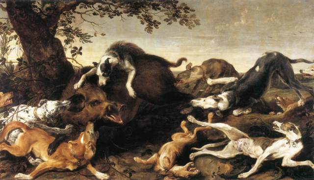 Wild boar huntig(Frans Snyders)