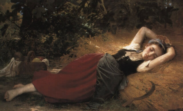 A young peasant girl, sleeping (Leon Jean Bazile  Perrault)