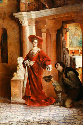 Merciful woman giving bounties (Karl Probst)